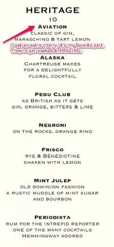 cocktail menus